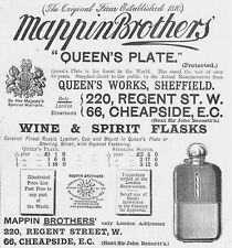 MAPPIN BROTHERS Regent St; Wine & Spirit Flasks - - Antique Print 1893