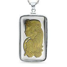 5 gram Silver - Gilded Pamp Suisse Fortuna Pendant (w/Chain) - SKU #85966