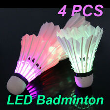 gi Dark Night 4 Pcs Birdies Lighting Colorful LED Badminton Feather Shuttlecocks