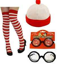 Book Day Wheres Fancy Dress White And Red Striped Bobble Hat Socks & Glasses.