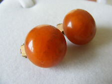 Vintage Butterscotch Egg Yolk Amber Bakelite Button Clip On Earrings