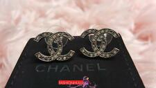 2014 CHANEL CC CRYSTAL Star STUD Gunmetal EARRINGS