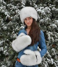 Finest Quality White Fox Fur Women's Men's Winter Mittens Gloves Wool Lining!!!