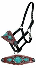 Black Nylon Horse Bronc Leather Noseband Halter Turquoise Beads CROSS Conchos