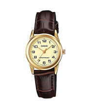 Casio Women's Brown Leather Strap Watch, Champagne Dial, LTP-V001GL-9B