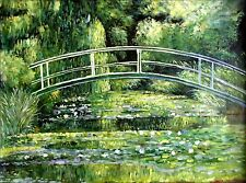 Stretched Hand Painted Oil Painting, Claude Monet Japanese Bridge Repro, 36x48in