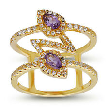 ZigZag Amethyst Cocktail Ring .925 Sterling Silver with CZ Stackable Ring