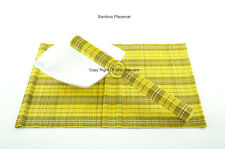 4 Handmade Bamboo Wood Placemats Table Mats, Black-Yellow, P074