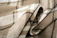 D54 LAMBSWOOL&CASHMERE LUXURIOUS PLAID CHECK NATURAL FAWN TONES DUSTY PINK