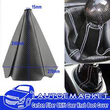 Black PVC Carbon Fiber Auto White Stitch Car Shifter Shift Gear Knob Boot Cover