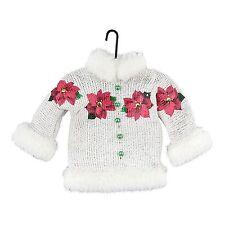 Department 56 White Sweater w Faux Fur Trim Red Pointsetta Ugly Sweater Ornament
