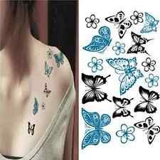 Vogue Women Delicate 3D Waterproof Butterfly Body Nail Art Temporary Tattoo