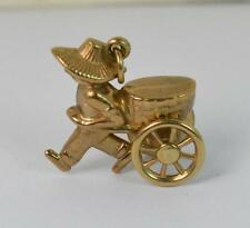 Hallmarked 9ct Gold Charm of Man Pulling a Cart F1538