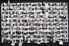 10pcs Mix Silver Black Stainless Steel Fashion Mens Rings Wholesale Lots FREE