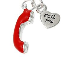"LOVELY SILVER & RED TELEPHONE WITH SMALL DISC SAYS"" CALL ME"" CLIP ON CHARM - S/P"