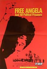 FREE ANGELA AND ALL POLITICAL PRISONERS - A. DAVIS / LYNCH - SMALL RED POSTER