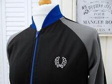 Fred Perry Black/Grey Bomber Track Jacket - M/L - Mod Ska Scooter Casuals Skins