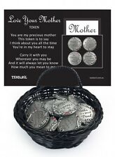 """""""MOTHER"""" 3CM DIAMETER SILVER TOKEN/CHARM & CARD WITH BEAUTIFUL VERSE 4 DESIGNS"""