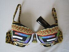 BNWT VERSACE BEACHWEAR PSYCHEDELIC PUSH-UP BIKINI TOP sz 3C uk 10 S chain print