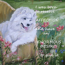 SAMOYED DOG new design plaque tile Sandra Coen artist sublimation print