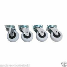 "4 x HEAVY DUTY INDUSTRIAL 4"" SWIVEL + Mounting plates 50mm CASTOR WHEELS"