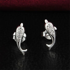 Jump Dolphin Silver Earring Charm Jewelry Women Girl Sterling Wedding Lover Gift
