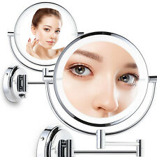 LED Lighted Wall Mount Cosmetic Makeup Mirror Dual Side 1X and 7X Magnifying 8""