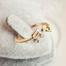 FD308 Women Girl Princess Queen Open Ring Rhinestone Notes Diamond Gold Ring ✿