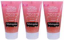 3 x 125ml Neutrogena Oil-Free Acne Face Wash Pink Grapefruit Foaming Scrub