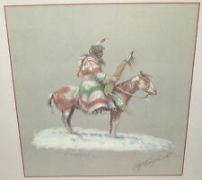 OLAF WIEGHORST WESTERN INDIAN ON A HORSE HAND SIGNED IN PENCIL COLOR LITHOGRAPH