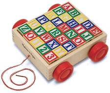 Melissa & Doug Classic ABC 123 Alphabet Wooden Block Cart 30 Wood Blocks 428607