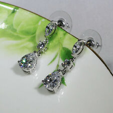18K White Gold Filled AAA Clear CZ Lady Wedding Party Stud Dangle Earrings E4396