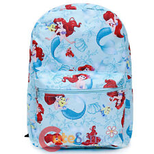 "Disney Princess Little Mermaid Ariel Large Backpack 16"" AOP School Book Bag"