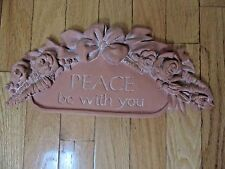 Wall decor Plaque, Peace be with you with bow on top w roses