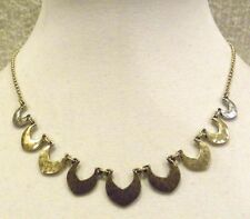 LUCKY BRAND FRONTAL NECKLACE SCALLOPS OF BRONZE, GOLD AND SILVER, NWT