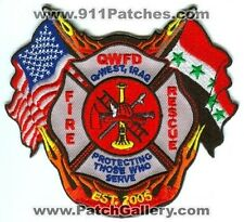 Iraq - Q-West Fire Rescue Department Military Patch
