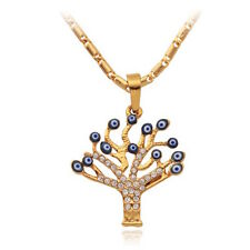 18K Gold Plated Men Women's Unisex Evil Eye Tree Zirconia Necklace L32