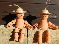 PAIR CHEEKY TERRACOTTA FLOWER POT MEN STRAW HAT GARDEN DECORATIVE ORNAMENT NEW