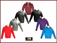 Mens Hoodies Plain American Campus Fleece Pull Over Hoody Hooded Top S M L XL