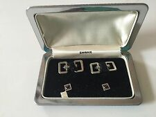 Vintage 1940s Swank Cufflinks Evening Set silver toned w black with Shirt Studs