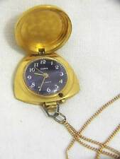RUSSIAN VINTAGE ZARIA GOLD PLATED LADIES PENDANT NECKLACE WATCH