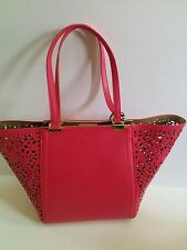 Kate Landry Lace Perforated Tote Pink