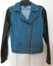 FOREVER 21 GIRLS SM DENIM JACKET WITH  LEATHER SLEEVES Cross zipper