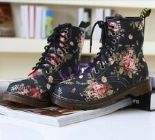 Retro Womens Mid-Calf flowers Martin lace Shoes Combat Ankle Boot Shoes