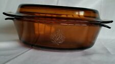 Glass Roaster Amber Oval Anchor Hocking Fire King w Lid 433 Oval 1 1/2 Quart