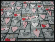 CHRISTMAS / SHABBY CHIC / PATCHWORK HEARTS design 100% Cotton Fabric.