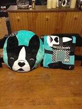 """Dog Warm And Snuggly Fleece Blanket 50"""" X 60"""" & Matching Pillow! Boston Terrier"""