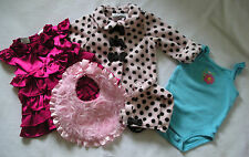9 pcs 9 Mo GIRL BABY CLOTHES LOT Carters Jillians Closet FAO Mud Pie Circo Y410