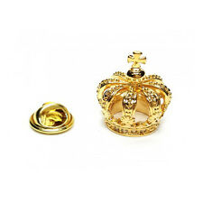 3D Gold Coloured Detailed Crown Metal Pin Badge royalty king queen AJTP460