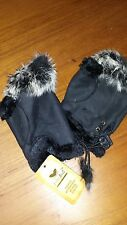 Winter Fingerless Leather Gloves Hand Wrist W/Rabbit Fur- BLACK NWT Free Ship